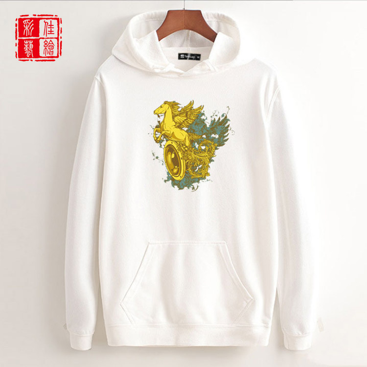 Wholesale fashion thick fleece with pocket oversized custom winter printed hoodies for men