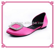 Fashion big buckle summer satin shoes women flat shoes jewels