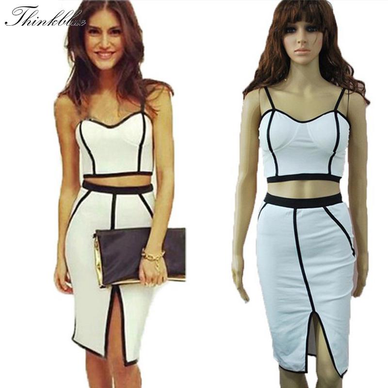 Get Quotations · Sexy Club Dress 2015 Fashion Strap 2 Piece Bandage Dress  Women White Split Bodycon Womens Sexy 649f529f9