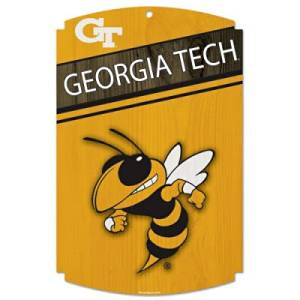 GEORGIA TECH YELLOWJACKETS OFFICIAL LOGO 11X17 WOOD SIGN