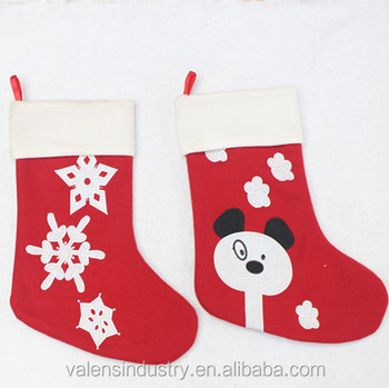 Wholesale Fashion Animated Santa Claus Christmas Stocking With Snowflowers And Bear Decoration