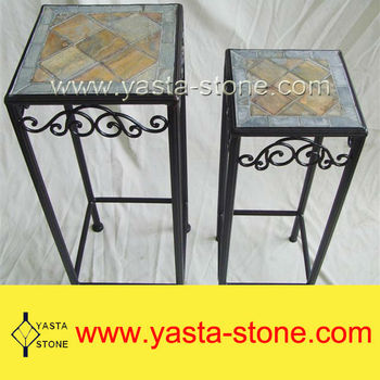 Hot Sale Square Slate Mosaic End Table