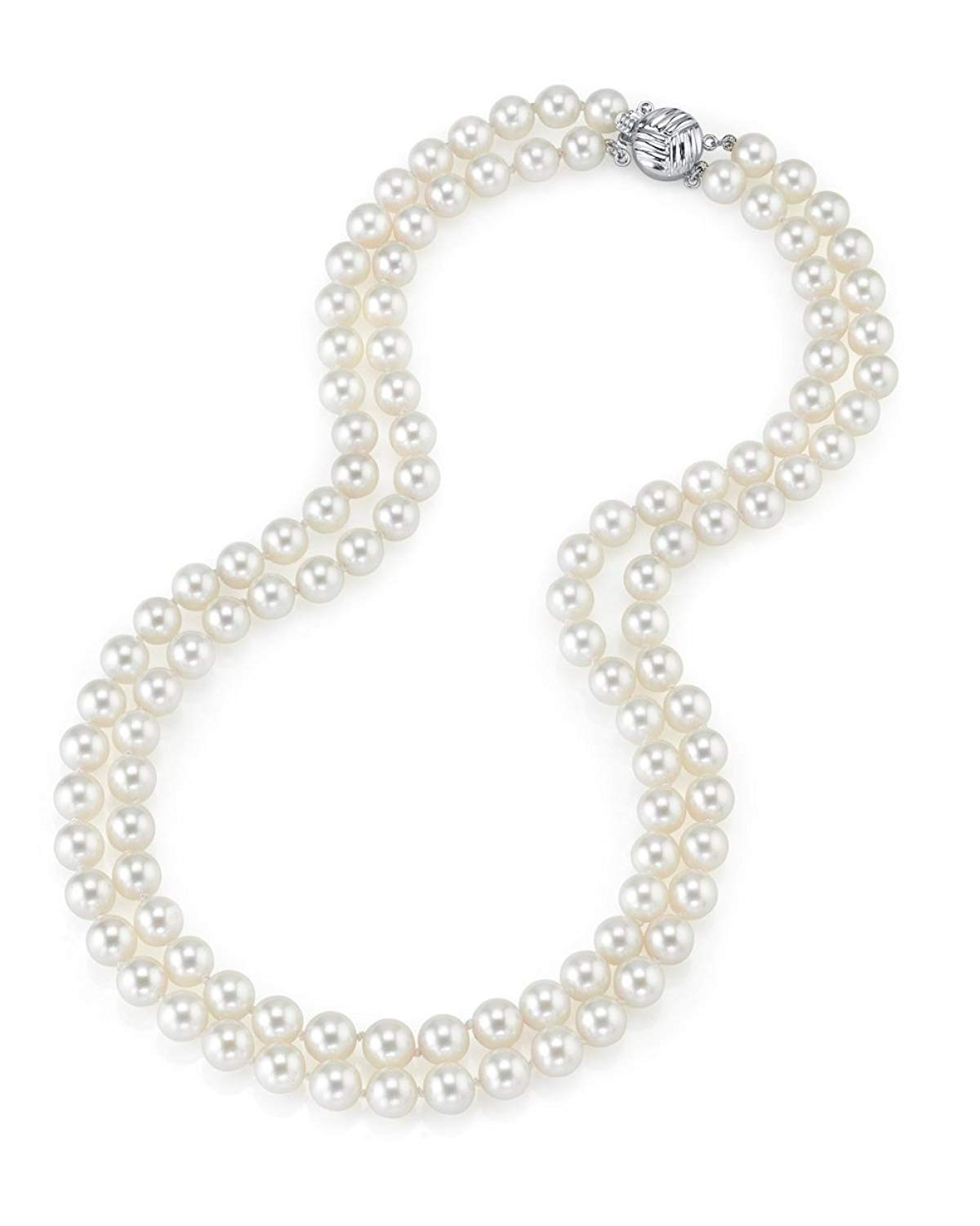 """THE PEARL SOURCE 14K Gold 7-8mm AAAA Quality Double Strand White Freshwater Cultured Pearl Necklace for Women in 19-20"""" Matinee Length"""
