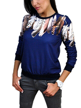 Print Three Quarter Women Shirt Crewneck Pullover Jumper Outwear Blouse Top Tracksuit Blue White Black 3 Color