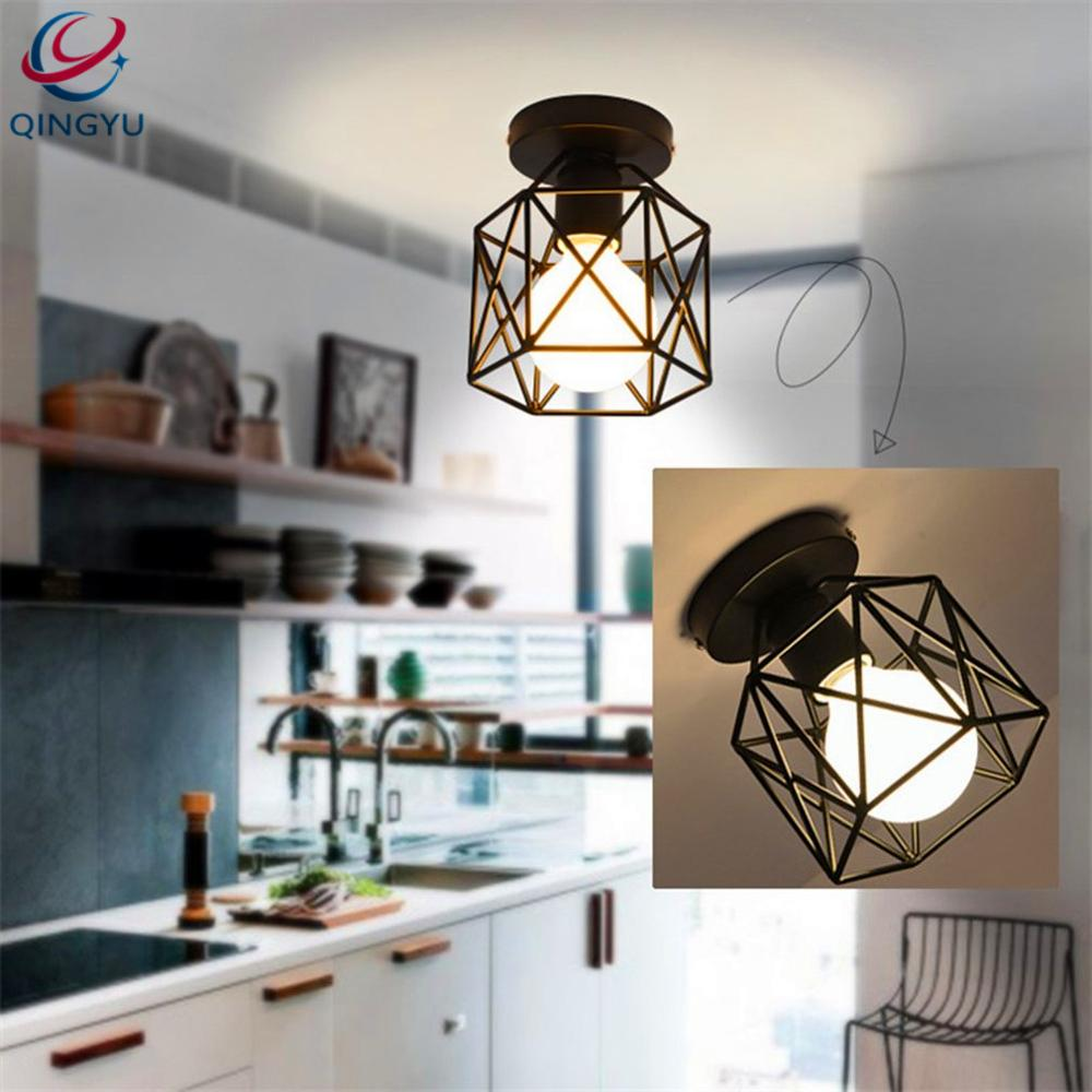 Industrial Metal Black Cage Flush Mount Ceiling Lamp Light Fixture ...
