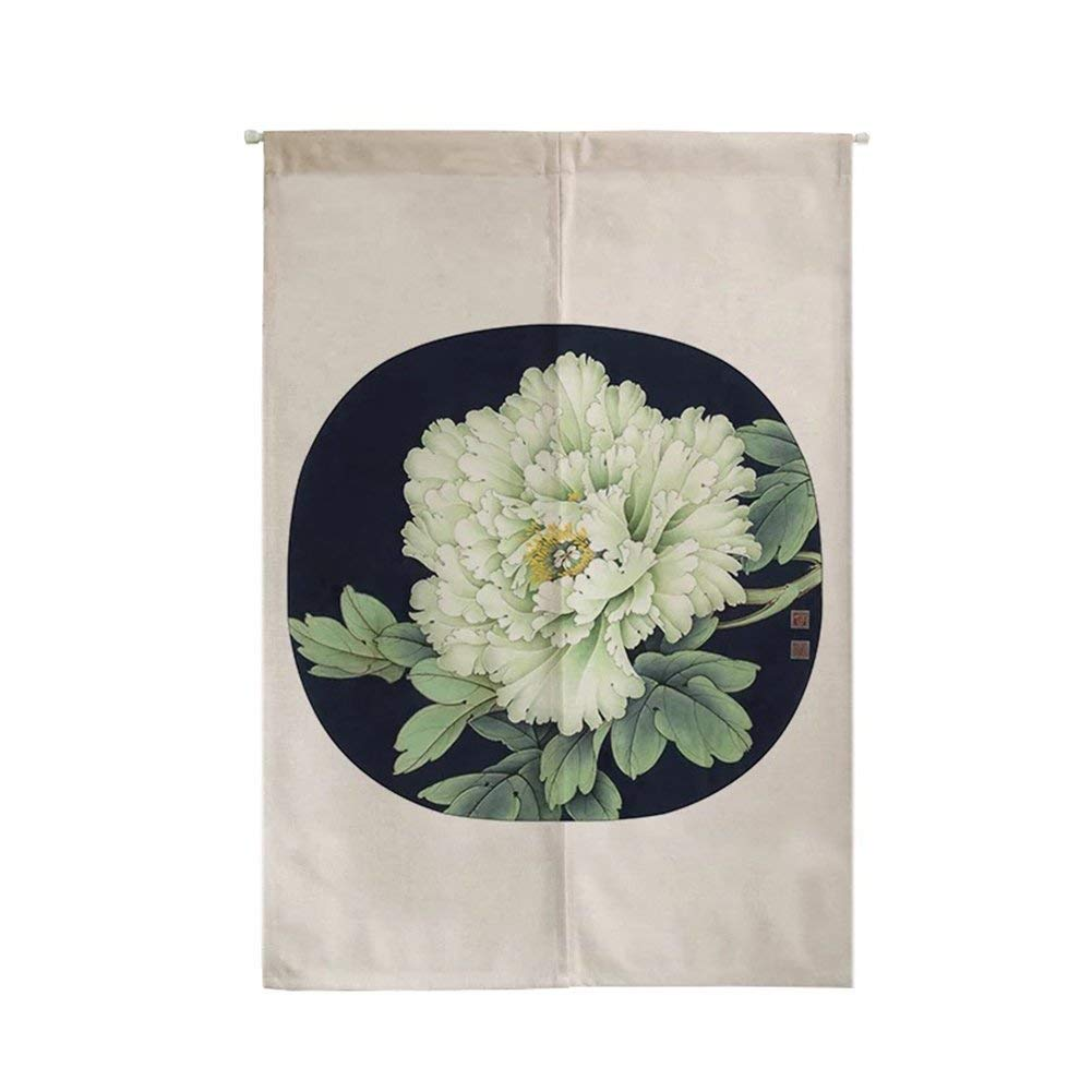 ONCEFIRST Linen Tapestry Japanese Noren Doorway Curtain Curtain for Door White Peony 1 29.5''X47.2''