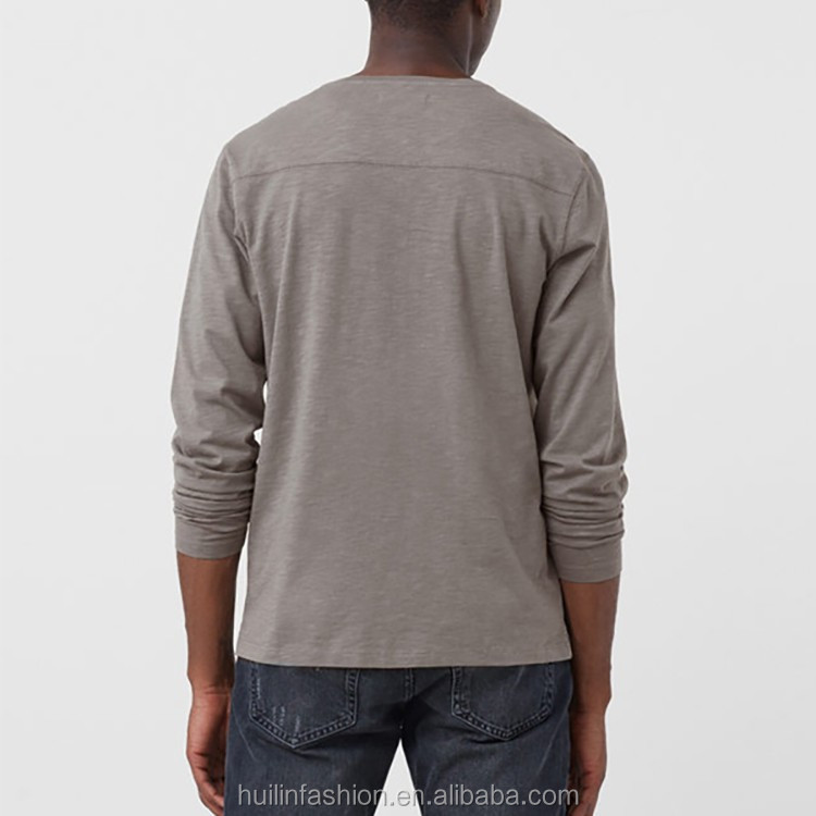 long sleeve t shirt China wholesale patch pocket on the chest henley collar men t shirt