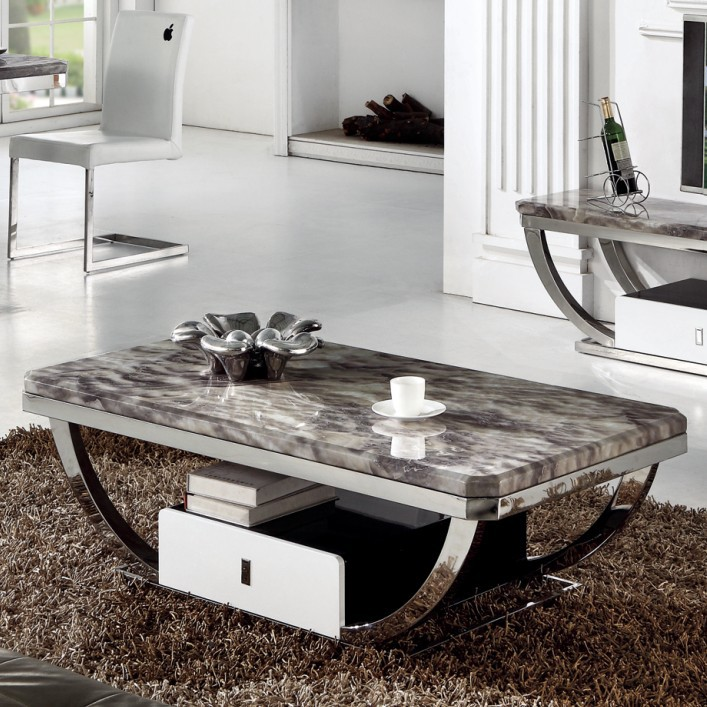 Stone Coffee Tables With Modern Style: Card-Li-Wei-marble-coffee-table-painted-stainless-steel