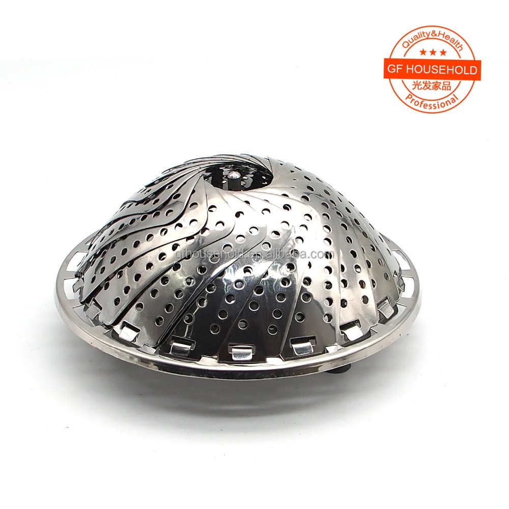 "9"" Folding Stainless Mesh Food Dish Vegetable Egg Steamer Basket with Silicone Feet"