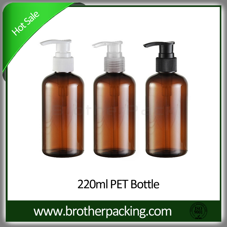 220ml empty hand wash pet amber plastic bottle with pump head
