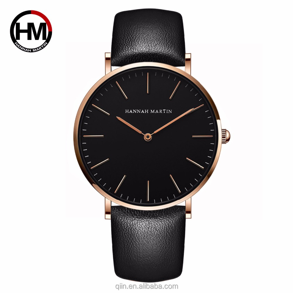 Top Brand 3ATM Waterproof 40mm Ultra Thin Mens Leather Watch with Japan movement