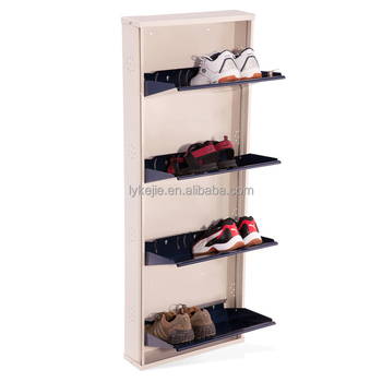 Home Door Shoe Rack Black Gloss Shoe Cabinet 3 Layers Metal Shoe Storage Box