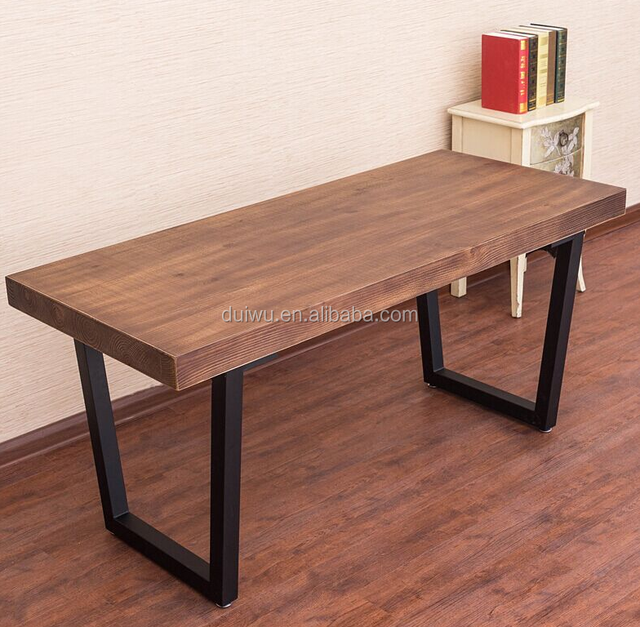 Home Furniture Iron Legs Wooden Dining Table Made In Malaysia