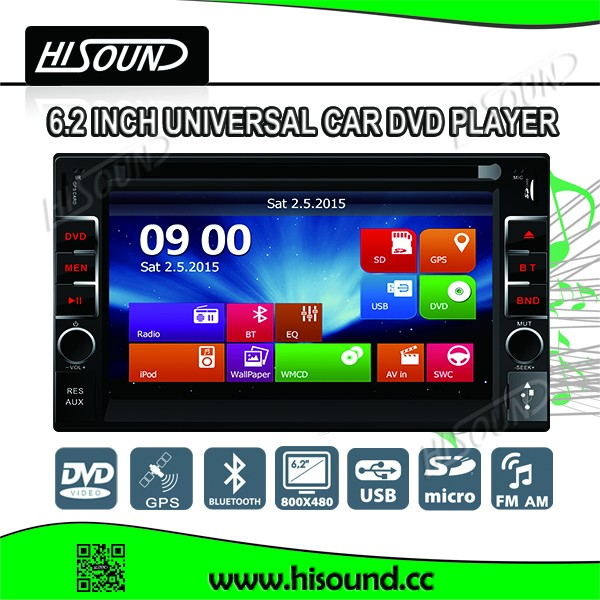 6.2'' 2din dvd with gps bluetooth remote control cheap car dvd players for sale