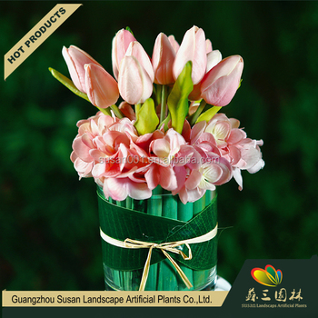 Decorative artificial PU flower China wholesale real touch hydrangea with  tulip pot 24f5932435