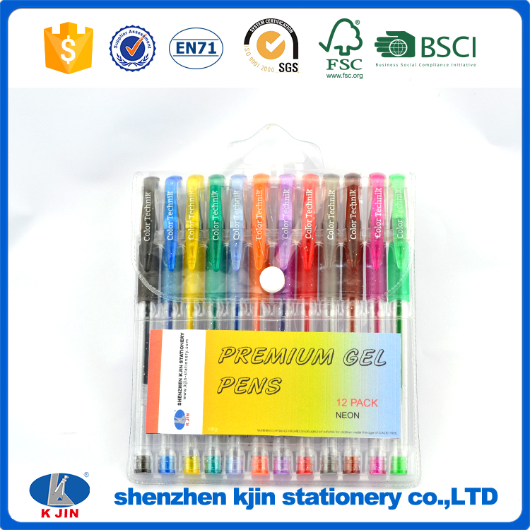 Hot selling glitter 12 color gel pen set with PE bag package