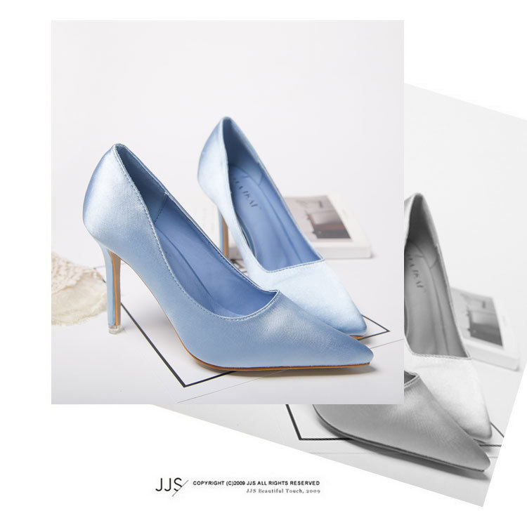Ol single shoes ,Satin pointed shallow mouth professional women's pumps shoes wholesale