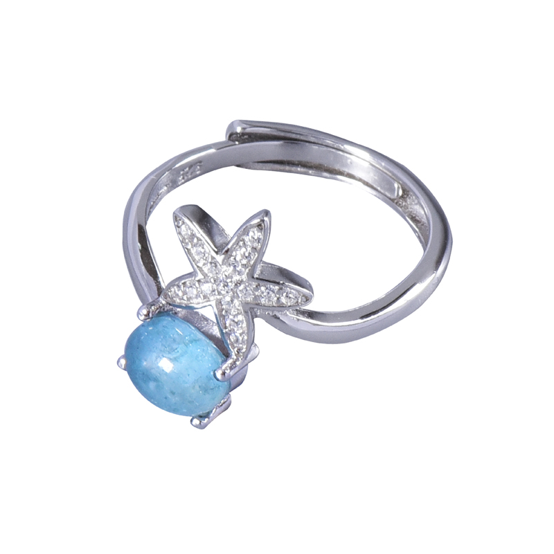 CYMO beautiful unique love Jewelry, Set Aquamarine 925 Sterling Silver Blue Stone Wedding Ring