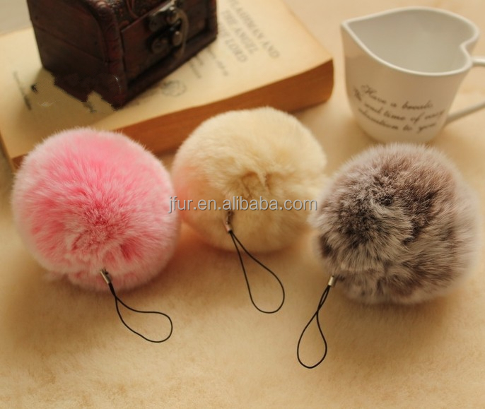 Bag charm fur ball/rabbit fur pompoms /wholesale fur pom poms key chains
