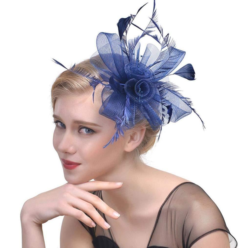 Muryobao Womens Fascinator Hat Feather Hair Clip Party Hat Flower Veil Headband