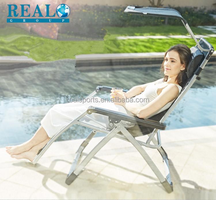 2 Zero Gravity Recline Chairs Folding Garden Camping Beach Sun Lounger W//Canopy