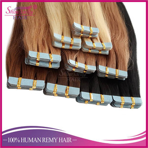 Grade 8a double drawn tape in extensin long lasting full cuticle aligned russian hair blue transparent band tape hair extensions
