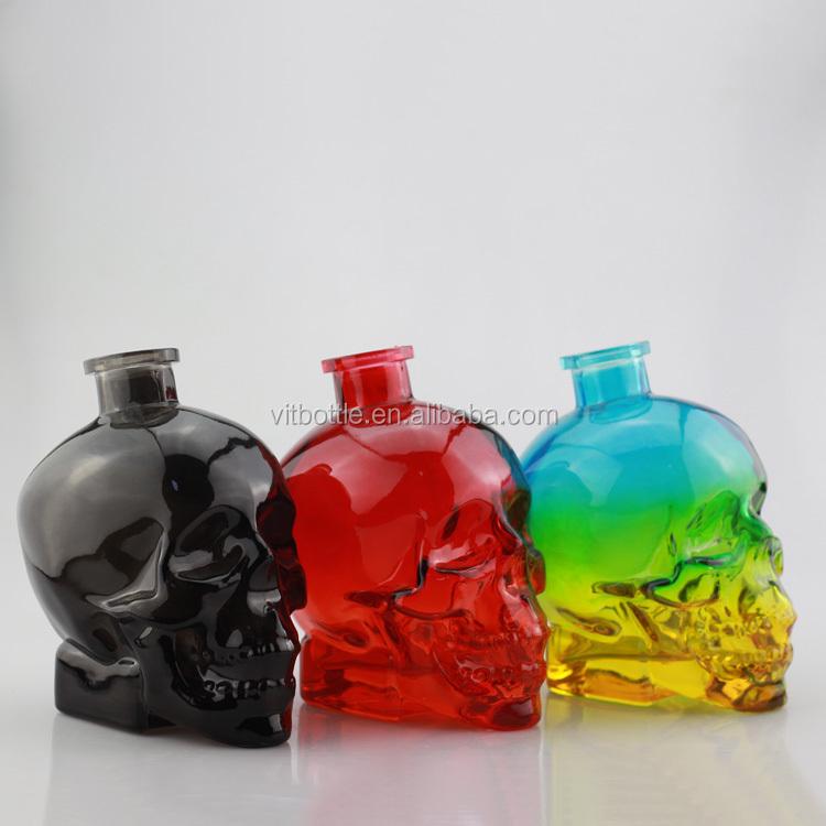 Skull Alcohol Glass Bottle Odd Glass Bottle Embossed Glass Bottle ...