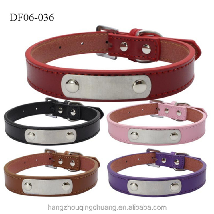 Wholesale Hotsale PU Leather Flexible Multi colors Water Repellet Dog Collar for Pet