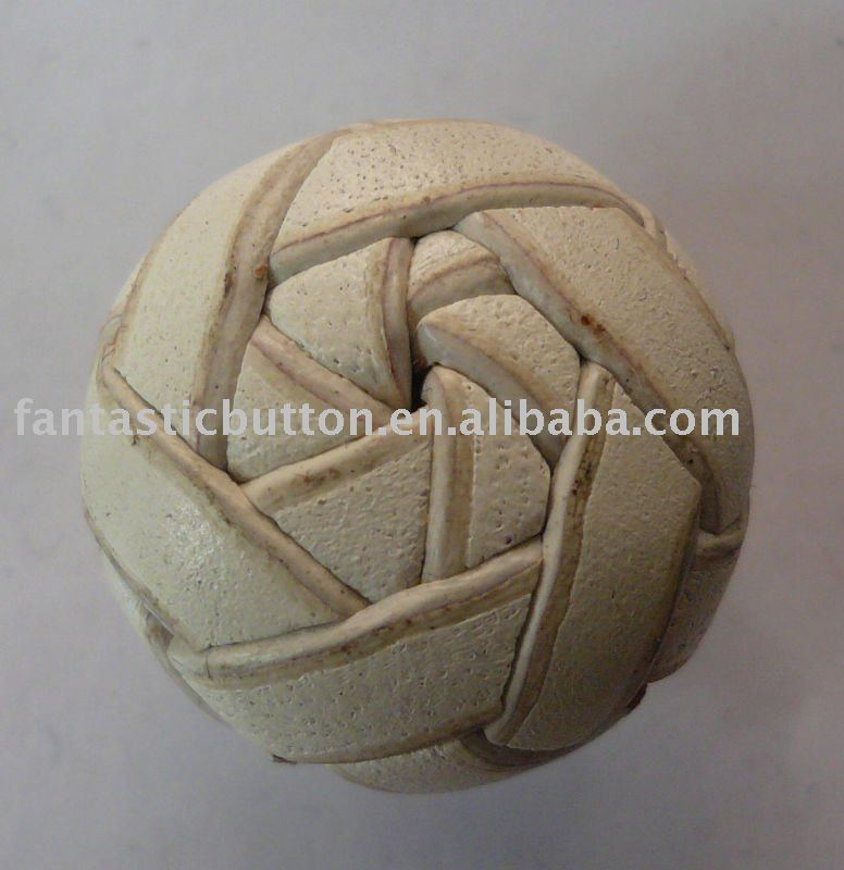 Chinese knot style leather covered button