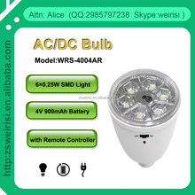 Rechargeable 6 SMD/LED Bulb, Emergency Light, with Remote Controller, E27, B22 (WRS-4004AR)