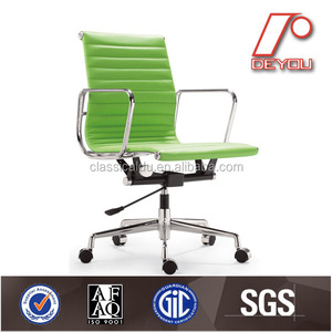 leather swivel ribbed chair EA117 thin low back chair, office swivel chair