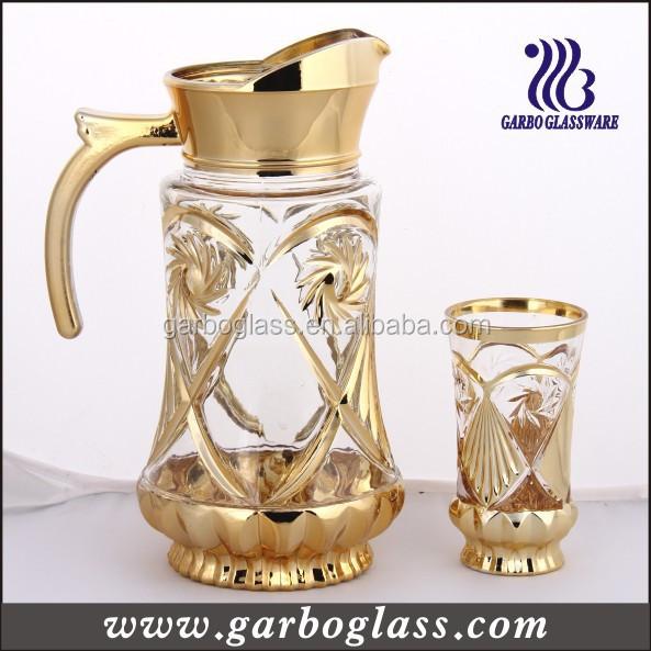 7pcs Beautiful Golden Plated Water Set,Golden Glass Jug Set Water ...