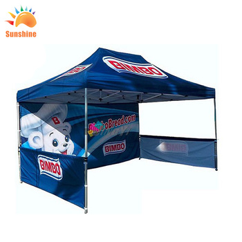 China Factory Custom Waterproof Oxford See Through Outdoor Advertising Trade Show Folding Tent With Sidewall Grille And Sandbags