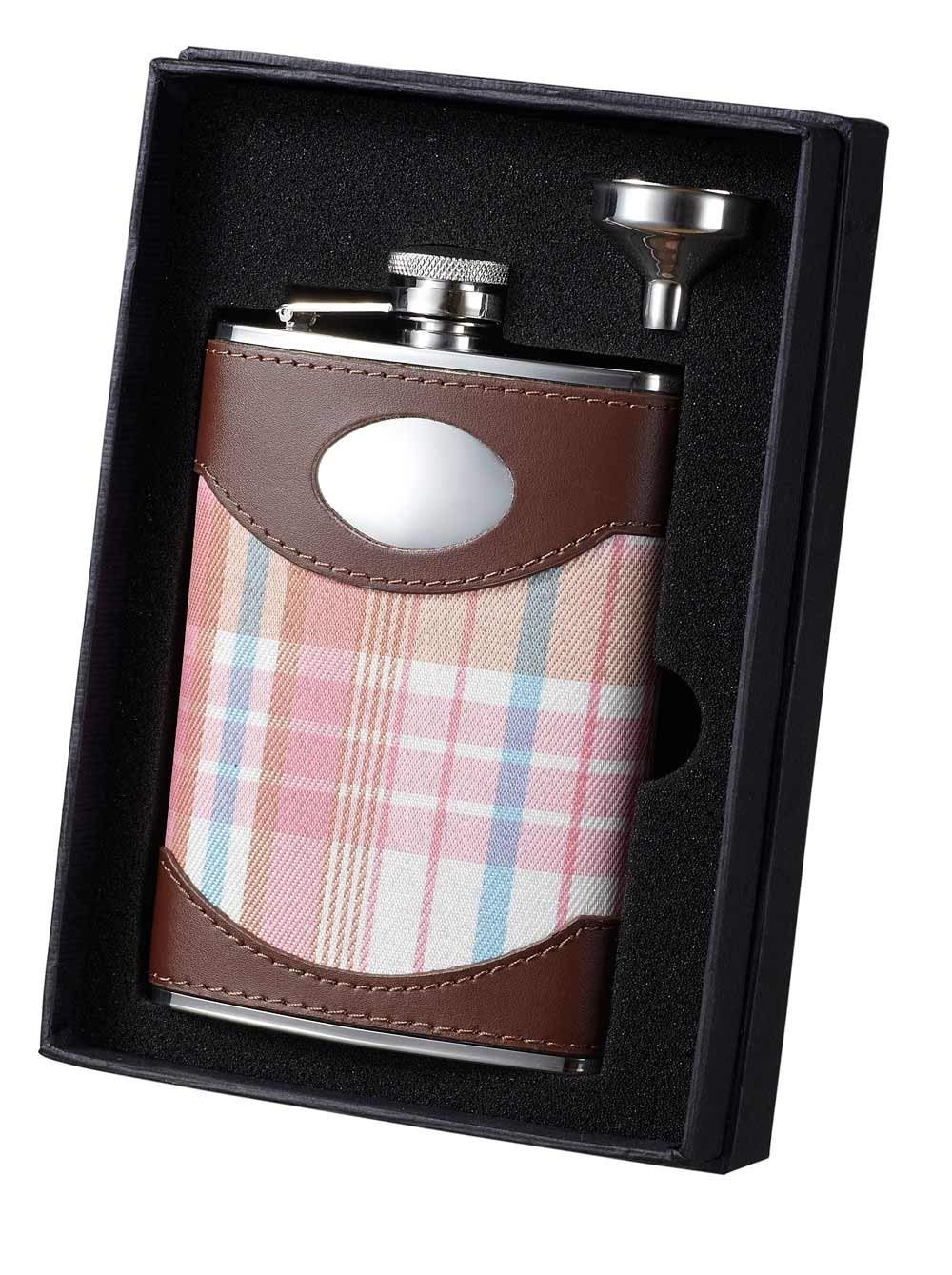 Visol VSET34-1276 Plaid and Leather Flask and Funnel Gift Set, 8-Ounce, Hannah Pink