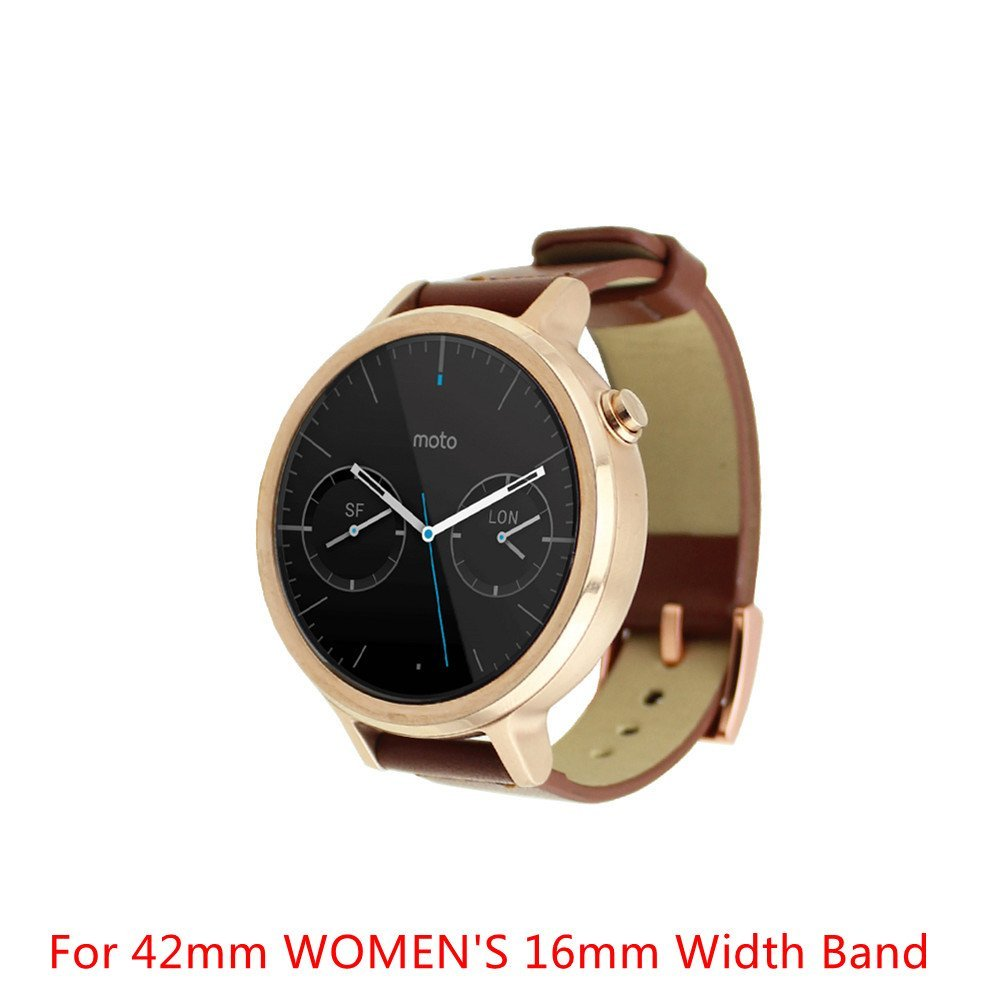 Moto 360 2 Watch Replacement Band (2nd Gen, 42mm 2015 WOMEN'S), DAYJOY Elegant Design Genuine Leather Watch Strap Adjustbable Wrist Band for Motorola Moto 360 2 42mm Smart Watch(16MM WIDTH BROWN)
