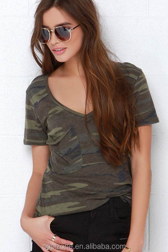 Relaxed bodice short sleeve classic camo print women shirts wholesale camo t shirts 2016