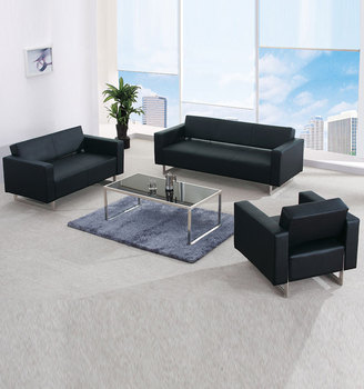 office sofa set. Busa Kepadatan Tinggi Embossed Kulit Penutup Stainless Steel Bingkai Sofa Office Set C