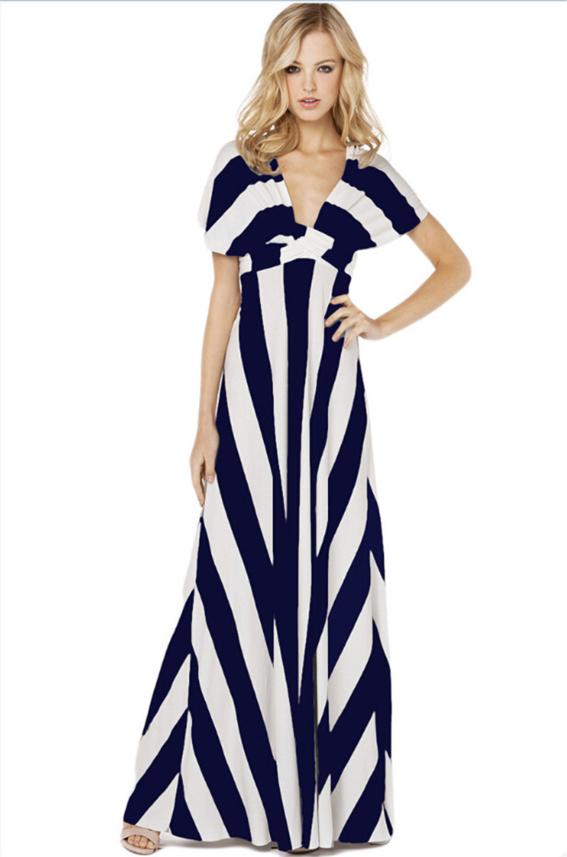 4ef980ac1f Get Quotations · Hot Sale 2015 Summer Women Long Maxi Dress Fashion V-neck  Sleeveless Striped Straight Party