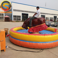 Crazy mechanical bull game optional color mats inflatable rodeo bull for sale