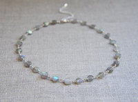 New arrival special labradorite necklace simple choker statement necklace beautiful silver plated choker necklace