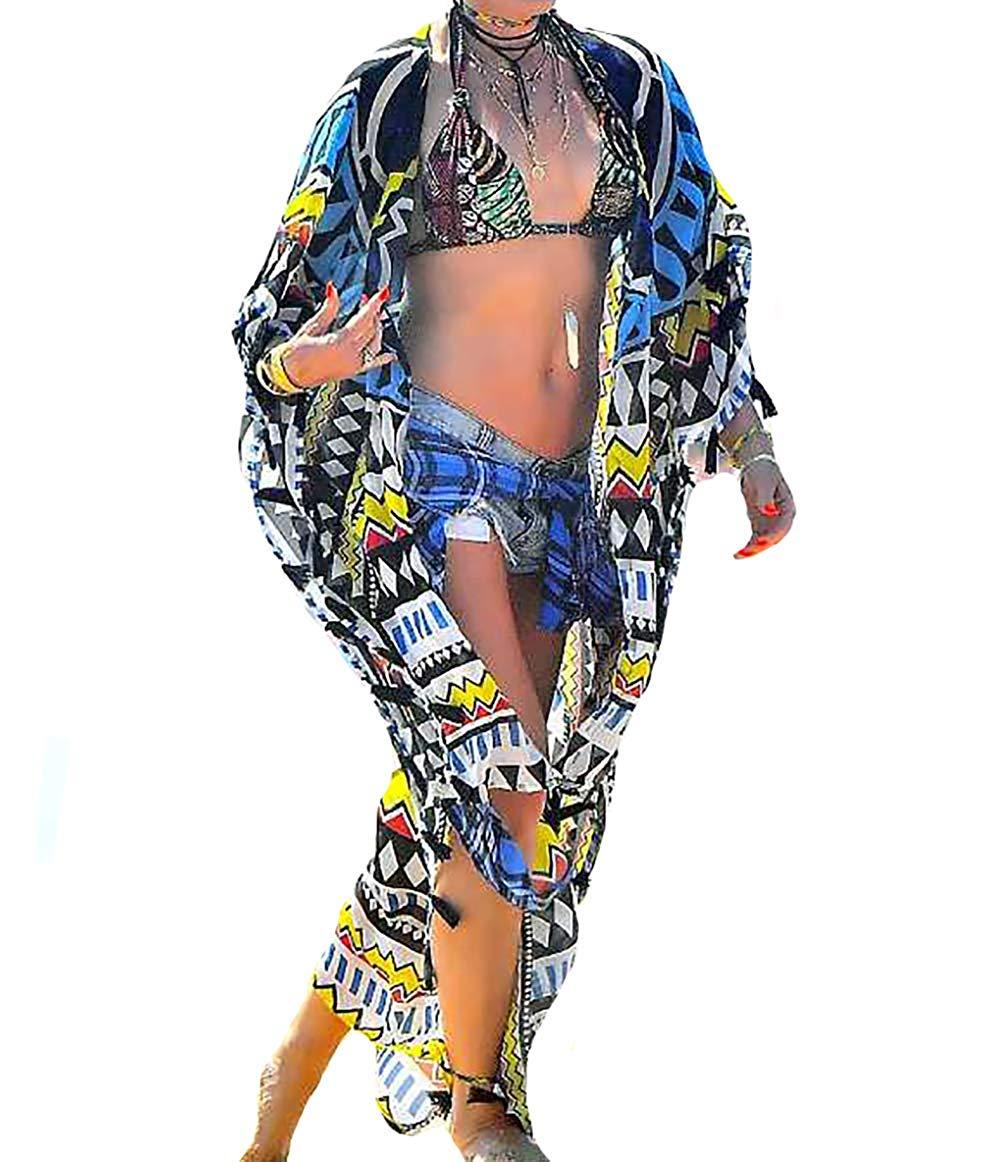 3fe3f23eb9 Get Quotations · MeiLing Women's Print Bikini Bathing Suit Swimsuit Cover  up Dress Chiffon Long Kimono Cardigan Beachwear