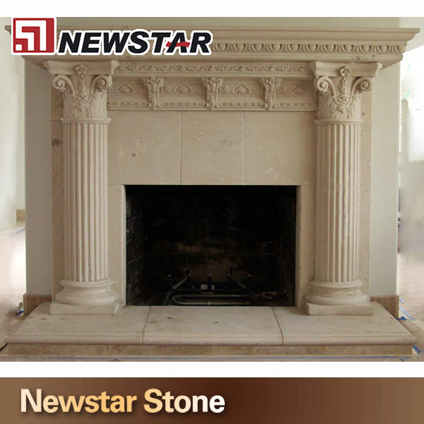 Stone Fireplace,Marble Column Fireplace Mantel,Fireplace Hearth ...