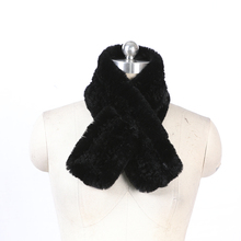 China manufacturer custom fashion ladies long black fur neck scarf