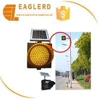300mm yellow flash led solar traffic warning light