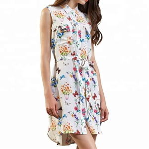 Factory Wholesale 100% Pure Silk CDC Digital Print Casual Sleeveless Flap Pocket Shirt Dress for Women