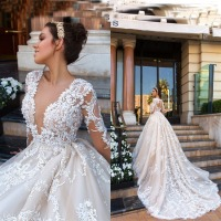 ASWY21 Fashion Luxury Long Sleeves V Neck Sexy Crystal Lace Ball Gown Cathedral Train Wedding Dresses