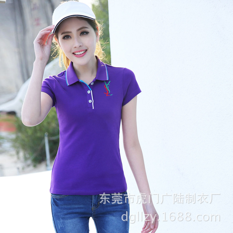 0da15f5b414f3 Get Quotations · 2015 New Summer Brief Women s Top Lady s Short Sleeve Polo Shirt  Female Clothing Embroidery Logo Purple