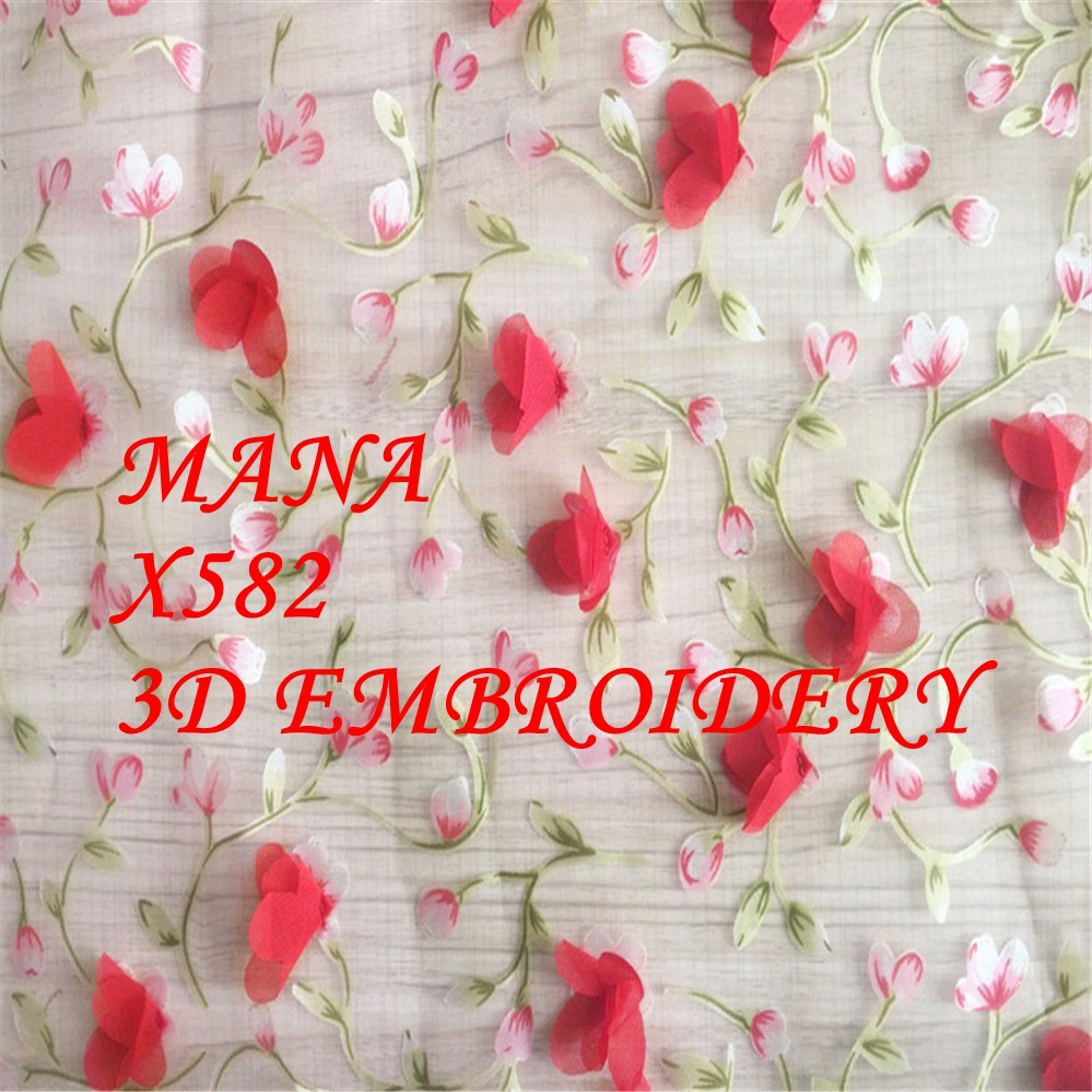 3D embroidery organza fabric ballet costume 3D flower embroidery fabric