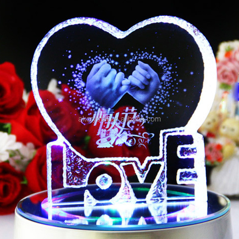 Romantic crystal glass wedding giveaway gifts rose flower inside 3D laser engraved crystal ball with led light base
