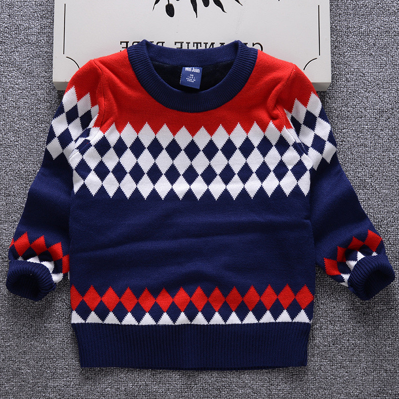Free shipping latest fashion plaid knitted pattern pullover cotton baby  boys sweater design